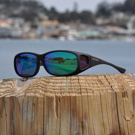 Green Mirror fitover sunglasses with black Soft Touch frame