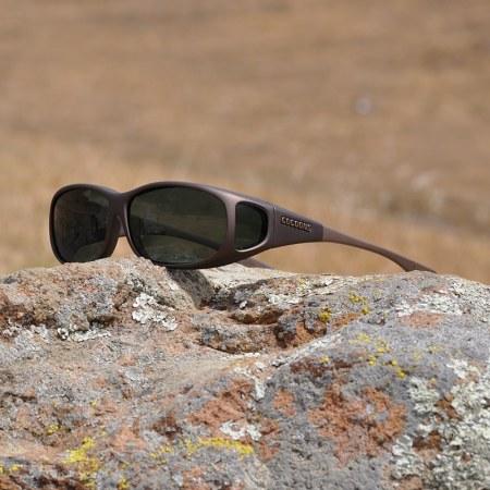 Mini Slim fitover sunglasses in sand with gray lenses