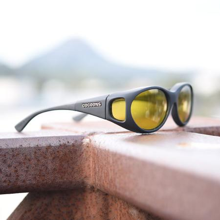 small sized cocoons fitover sunglasses in yellow