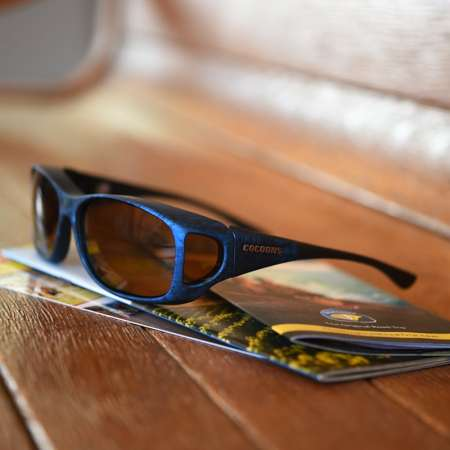 electric blue cocoons fitover sunglasses