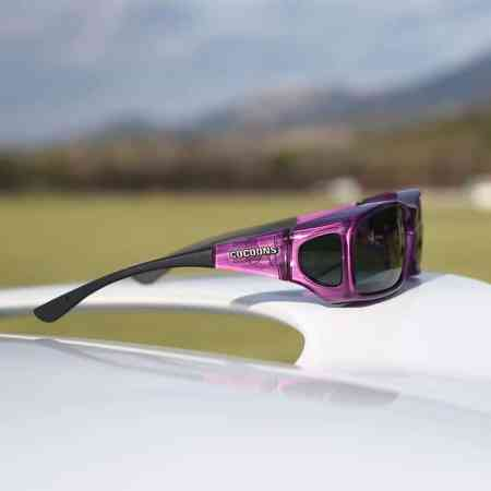Amethyst fitover sunglasses with gray polarized lens system