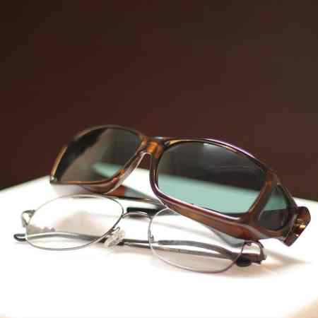 Chocolate fitover sunglasses in Wide Line styling