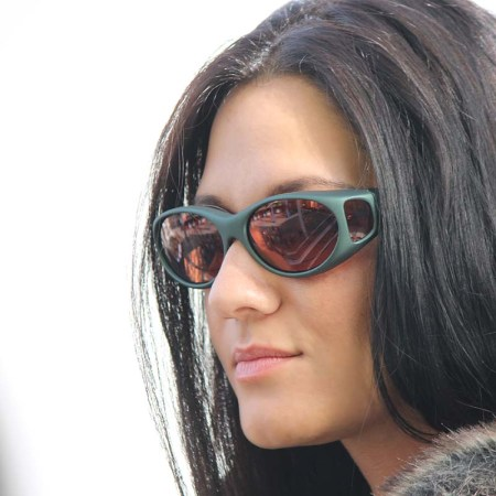 pensive Tara in ivy cocoons fitover sunglasses