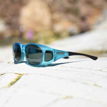 Blue fitover sunglasses also called aqua