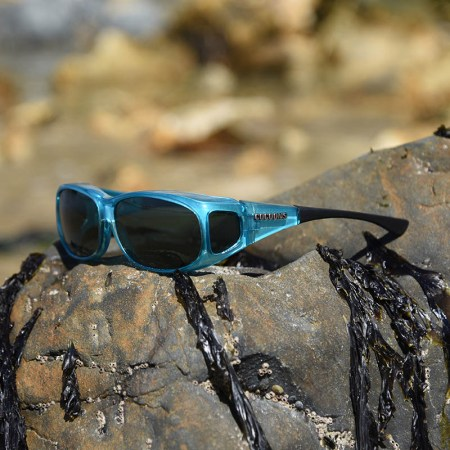 Blue fitover sunglasses with black temples