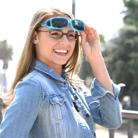 Beautiful fitover sunglasses on erin