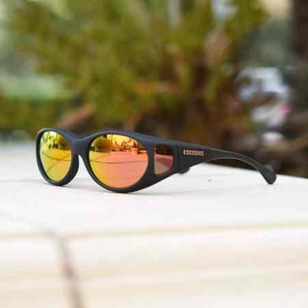 small size fitover sunglasses in rose mirror