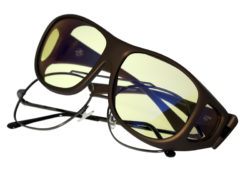 This popular Cocoons fitover frame designed to fit over large, square eyewear frames features an HEV blue light filter system