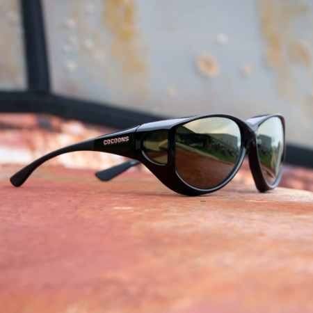Large cat-eye fitover sunglasses with polarized gold mirror lenses