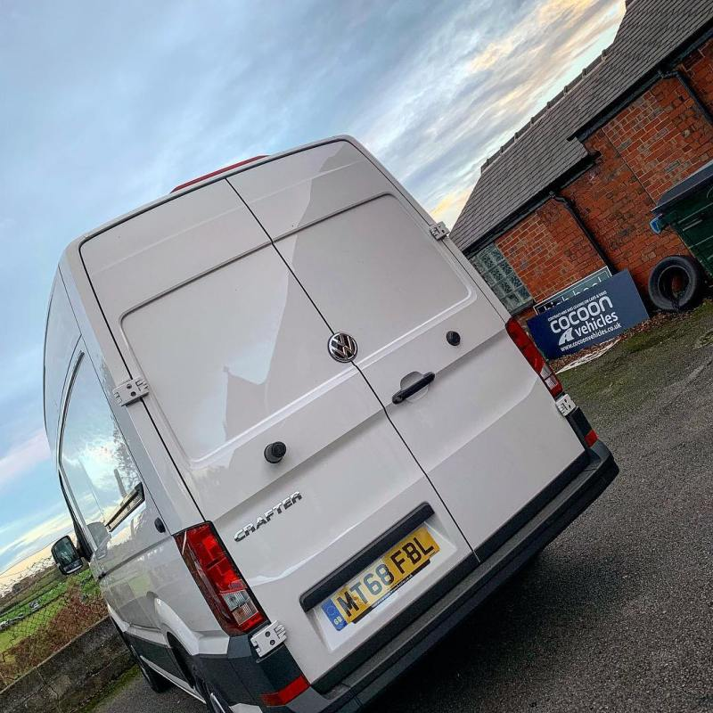 1 of 2 @volkswagen_uk Crafter vans being delivered to tomorrow, thanks to @mobilesolutionsuk for fitting the @rhinoproducts roof racks and ladders.
