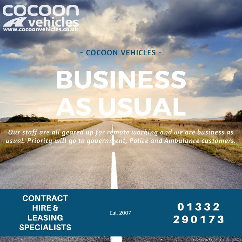 Business as Usual  We're operating as normal at Cocoon Vehicles and have provision for remote working.  Read our latest blog on our website on how we're operating during this unusual period.