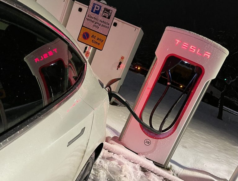 Tesla Supercharger at Woodhall Services