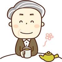 お茶を飲む男性