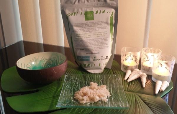 Lime and coconut sugar body scrub.
