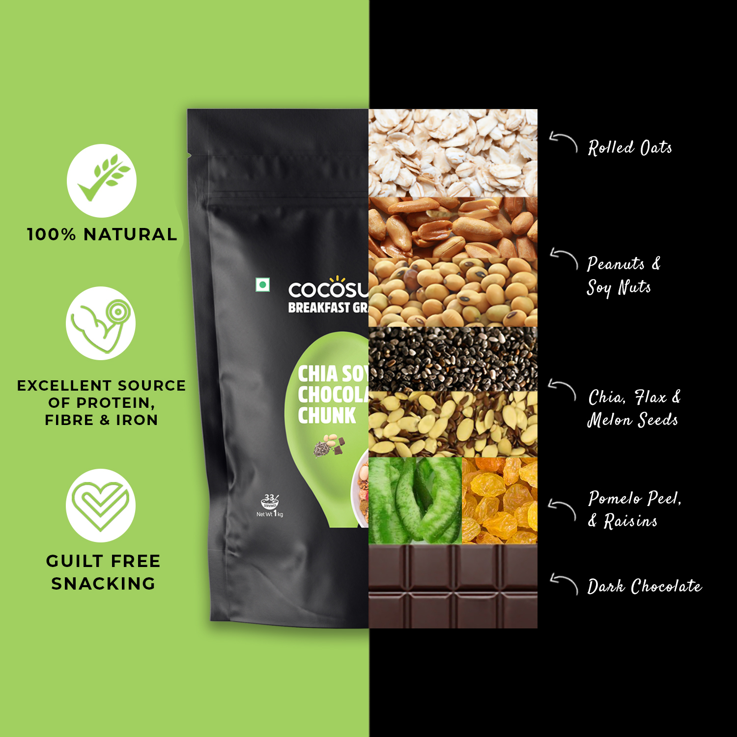 Chia Soya Chocolate Chunk Granola 1kg - Healthy Breakfast Cereal & Snack - High Protein & Natural Ingredients