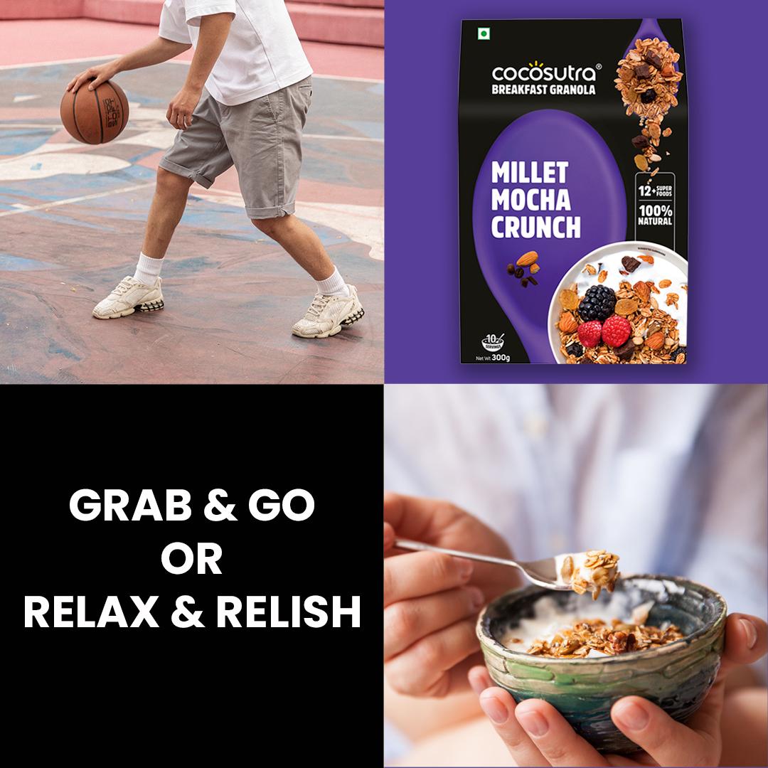 Cocosutra Millet Mocha Crunch Granola - Healthy Breakfast Cereal & Snack - Benenfits