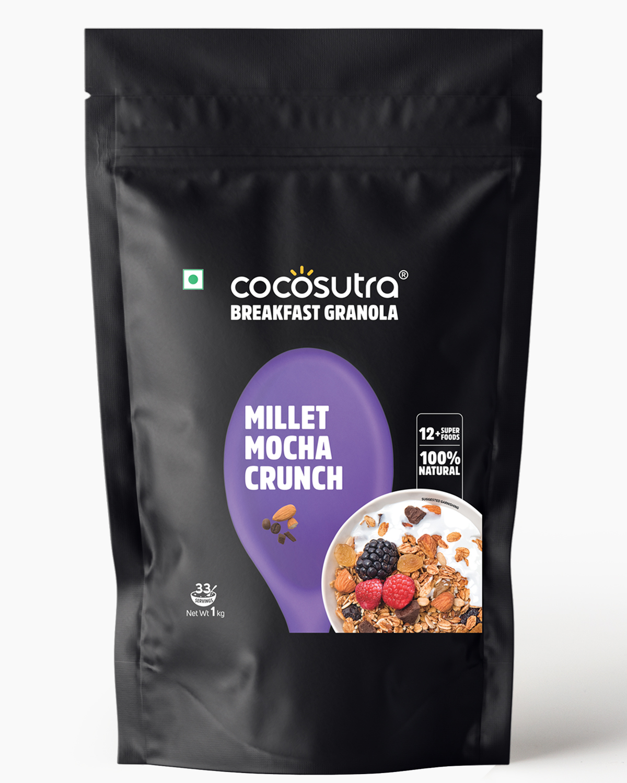 Millet Mocha Crunch Granola 1kg - Front - Healthy Breakfast Cereal & Snack