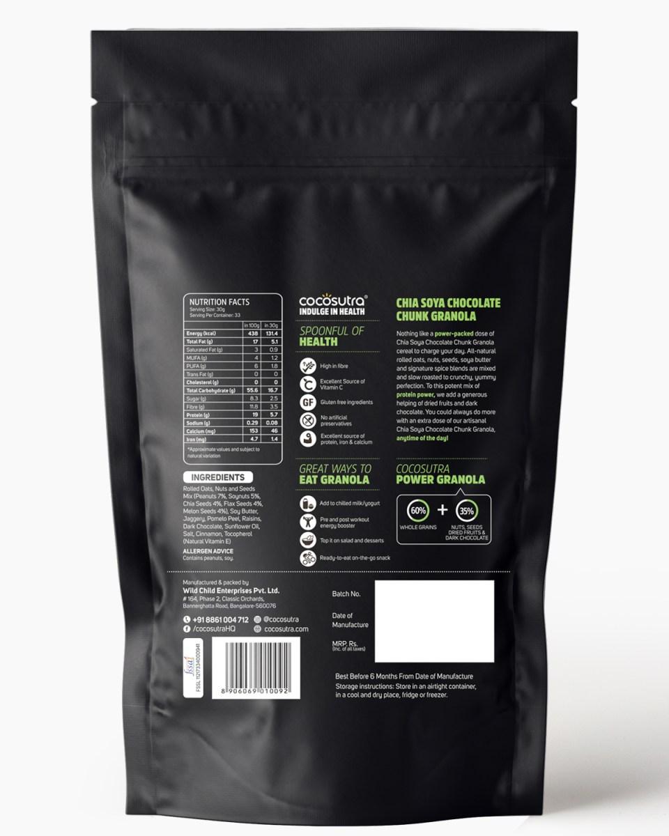 Chia Soya Chocolate Chunk 1kg - Back - Nutrition & Ingredients - Healthy Breakfast Cereal & Snack