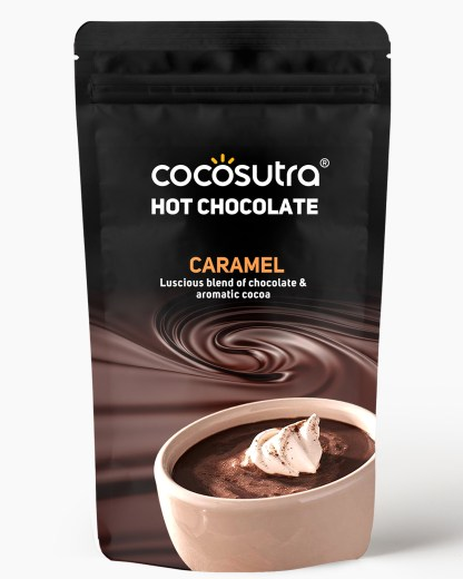 Cocosutra Caramel Hot Chocolate Mix 100g - Front - Best for Hampers & Gifts