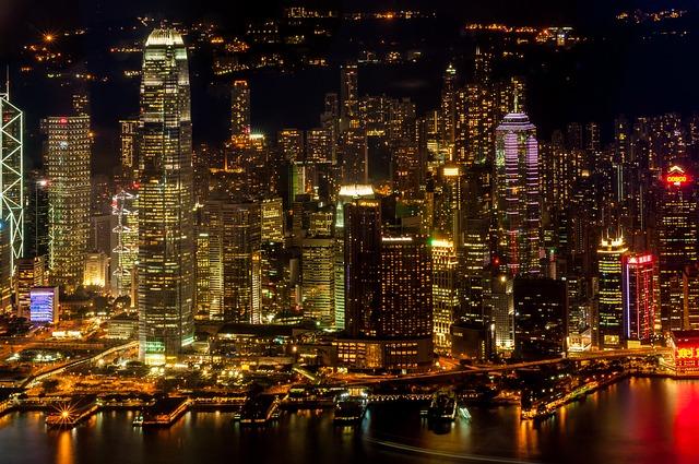 香港の夜景、カオルーンから見た香港島
