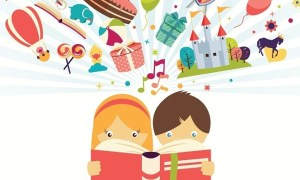 children-reading-book-imagination-stories-illustrated-illustration