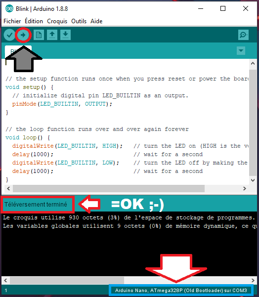Config ELEGOO NANO dans Arduino Sketch - Fin tutoriel NANO Function