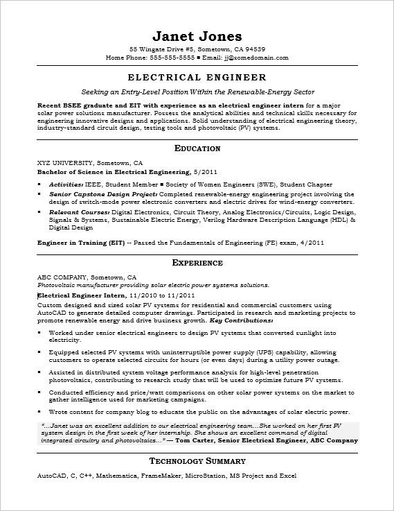 Resume Format For Experienced Electrical Engineers - Resume