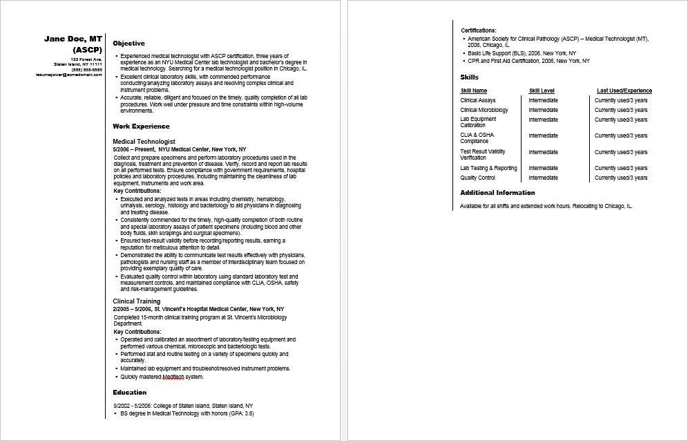 Medical Technologist Sample Resume Monster Com