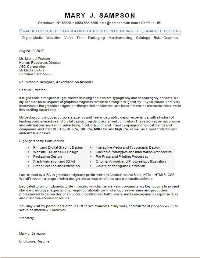Graphic Designer Cover Letter Sample Monster Com