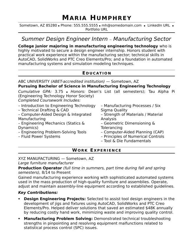 Mechanical Design Engineer Resume Sample - Resume Sample