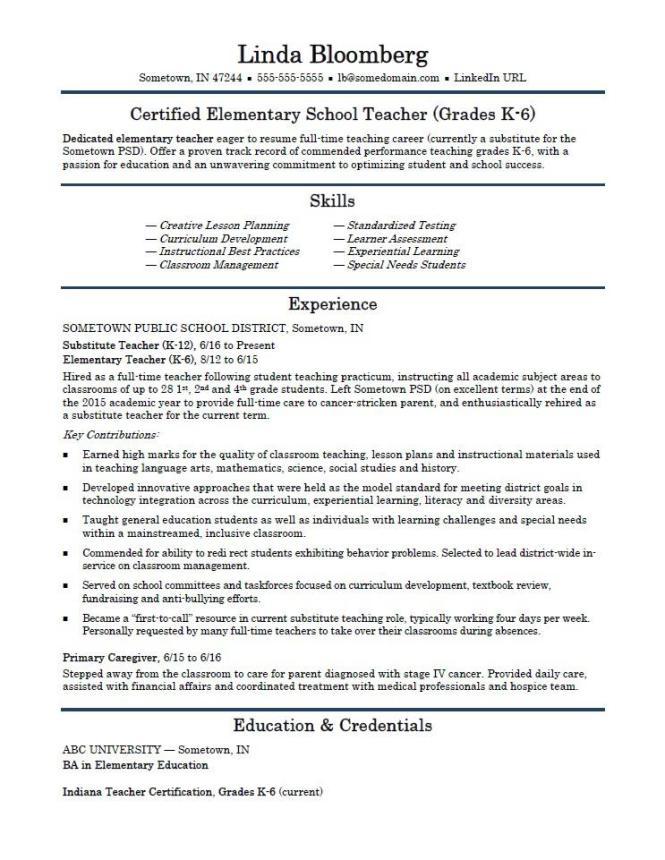 Elementary School Teacher Resume