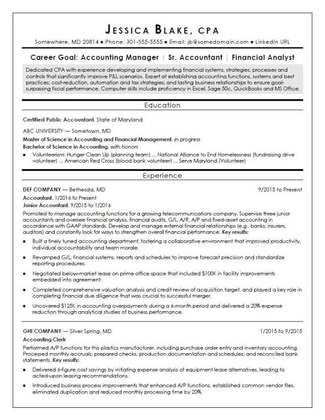 Cpa Resume Sample Monster
