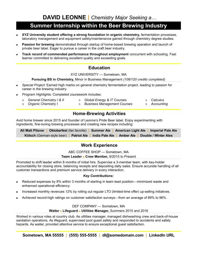 Resume For Internship Resume Sample