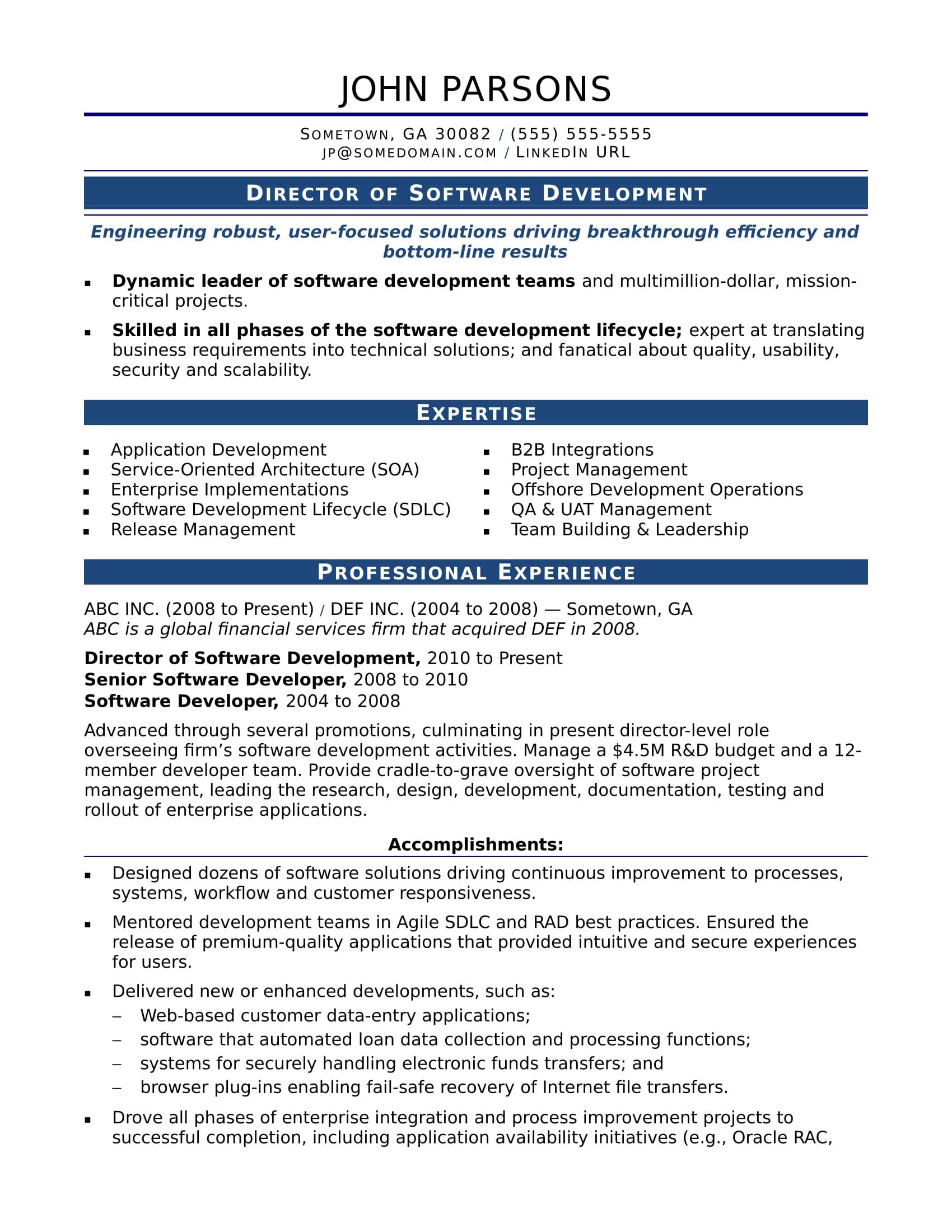 Sample Resume For An Experienced It Developer Monster Com