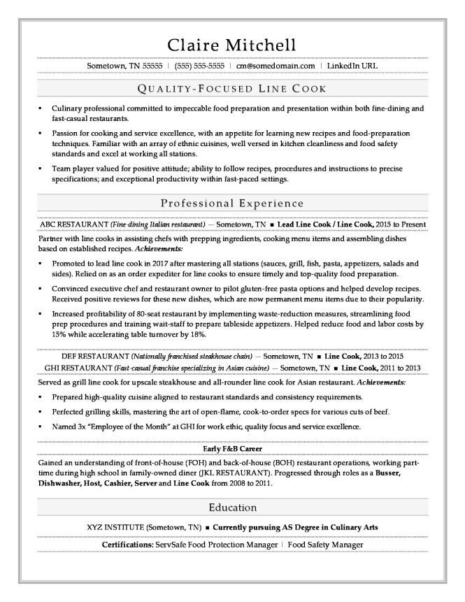 Line Cook Resume Template Resume Sample