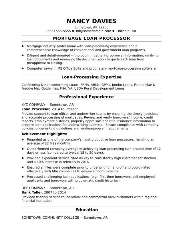 Mortgage Loan Processor Resume Sample  Monster.com