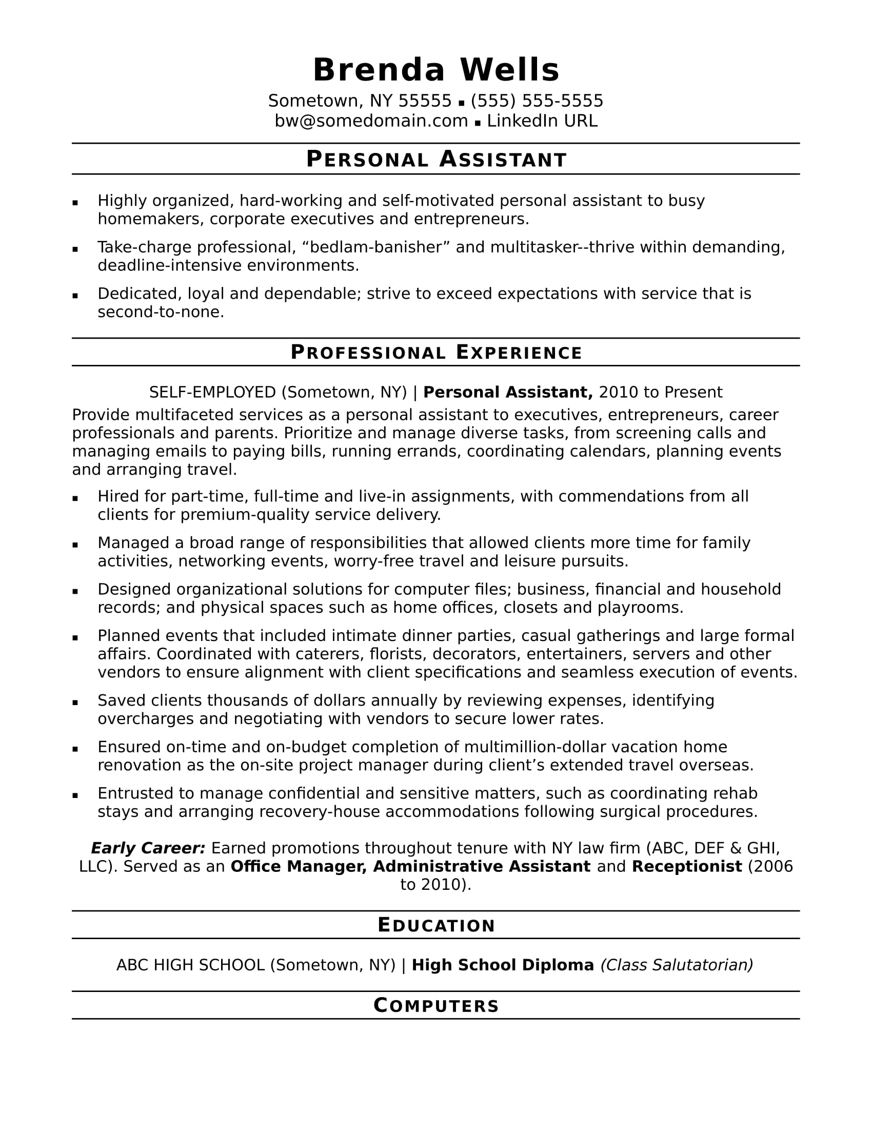 Personal Assistant Resume Sample