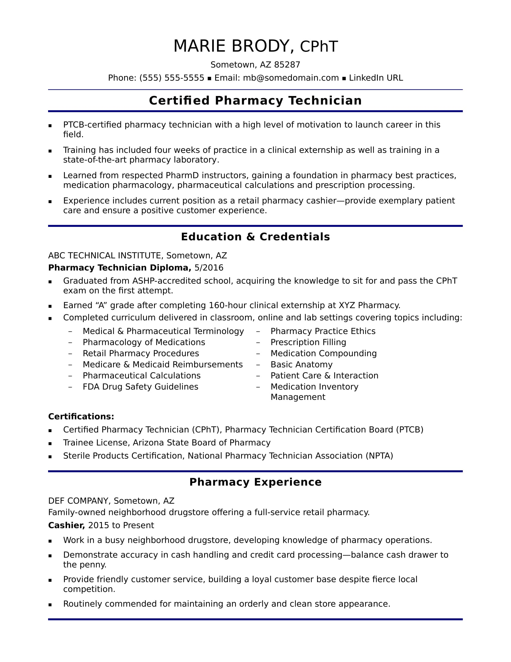 Entry Level Pharmacy Technician Resume Sample