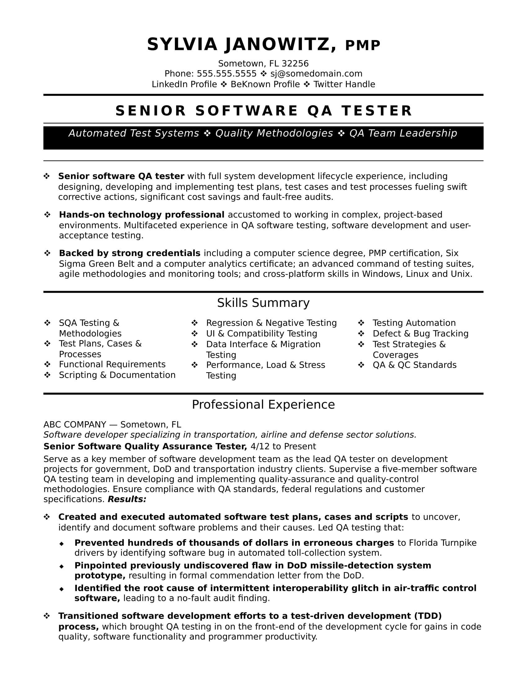 Qa Software Tester Cover Letter