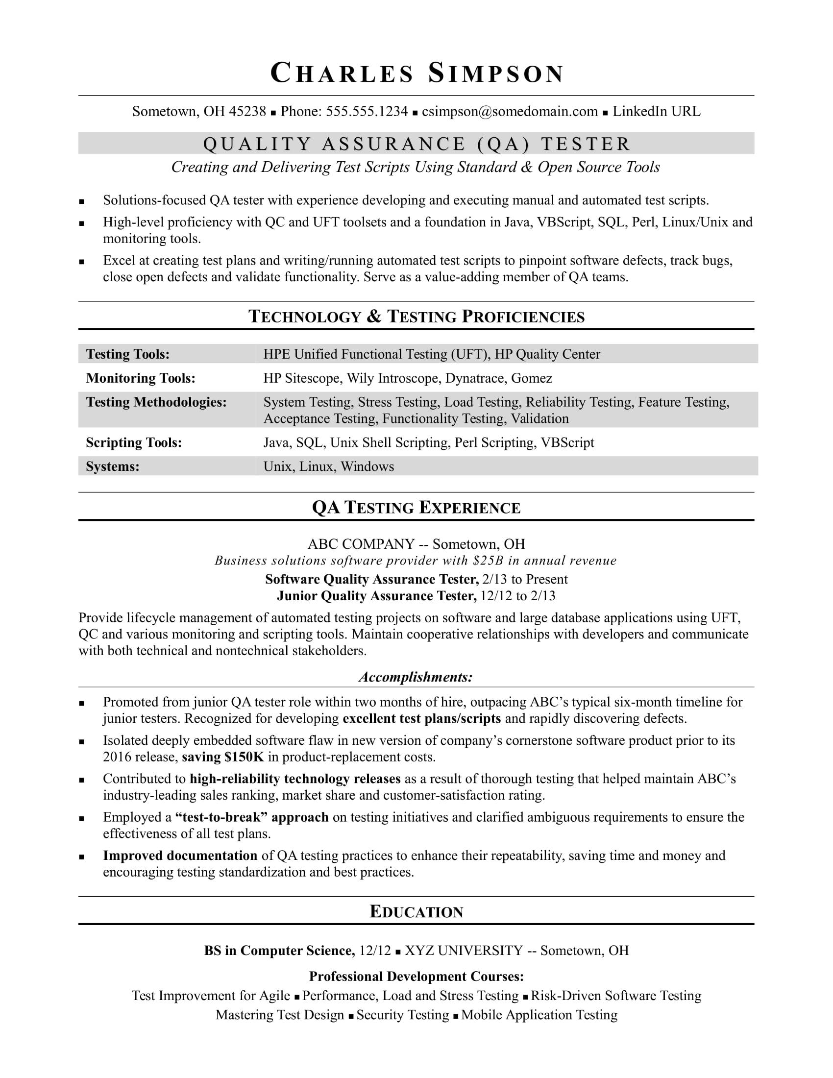 Sample Resume For A Midlevel Qa Software Tester Monster Com