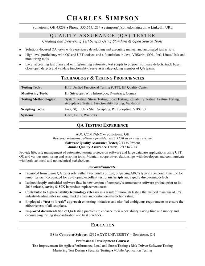 testing resume format