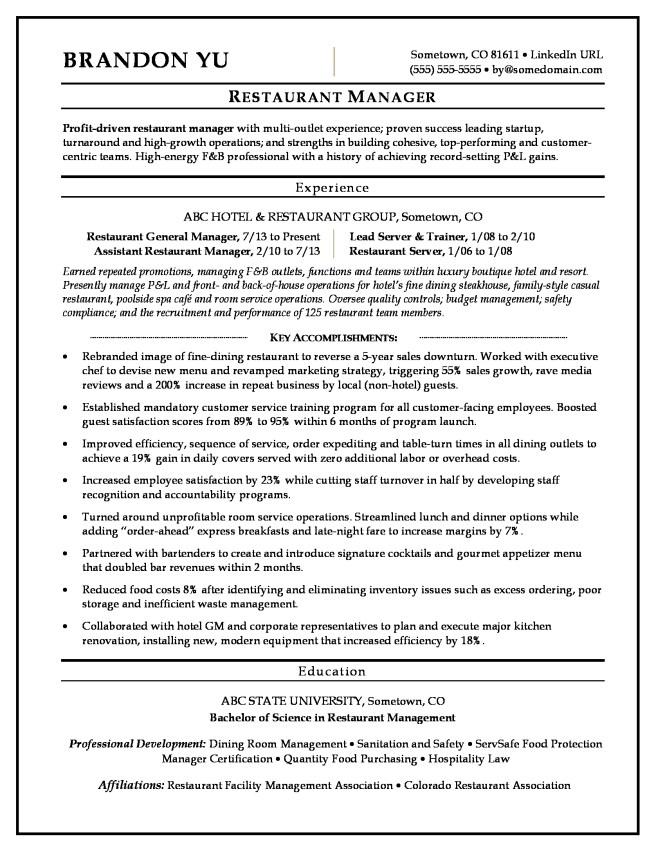 Resumes For Hospitality - Resume Sample