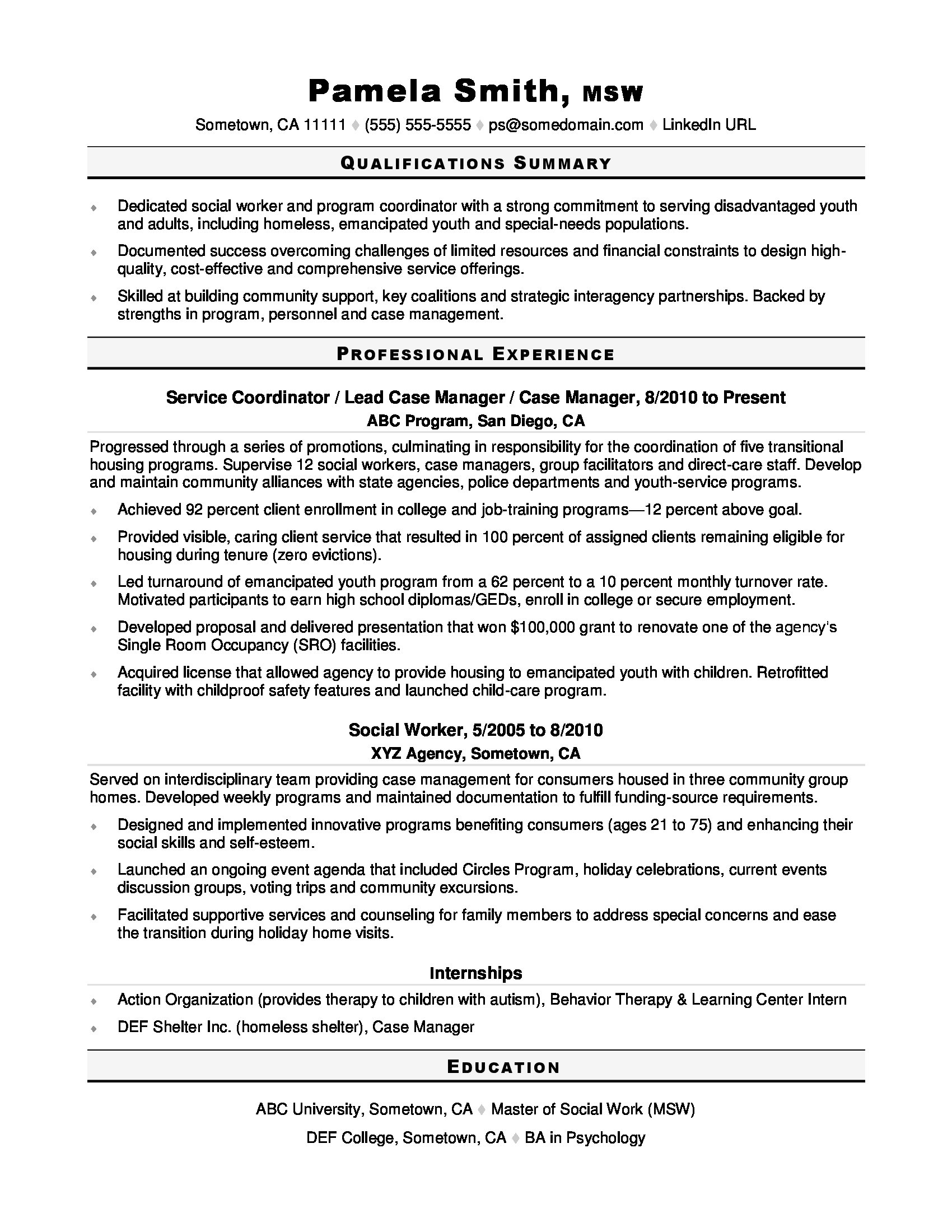 Social Worker Resume Sample