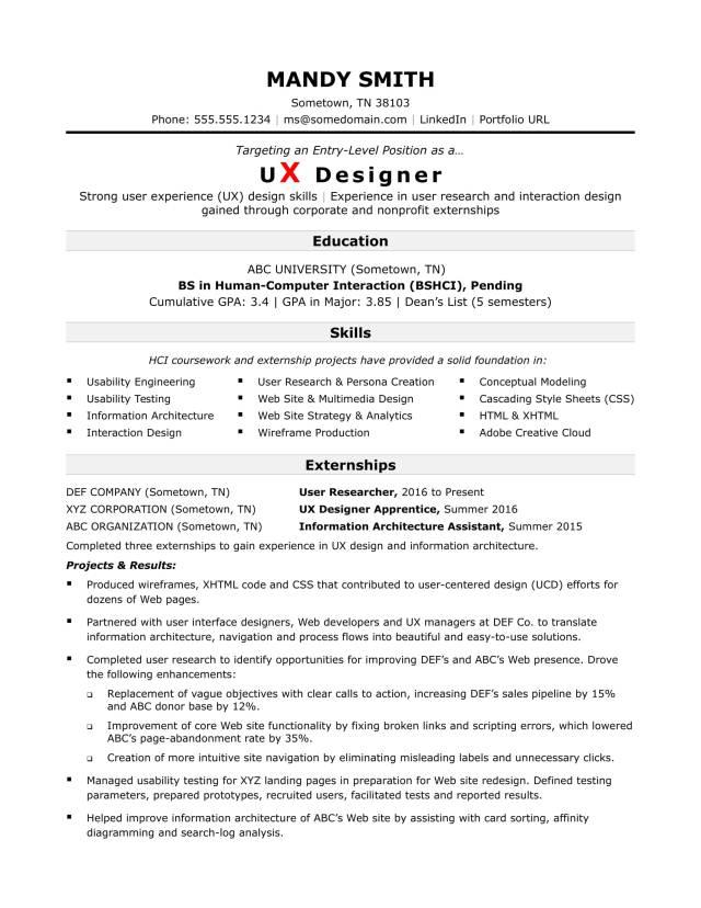 Sample Resume for an Entry-Level UX Designer  Monster.com