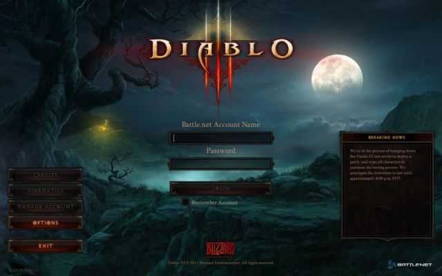 diablo3 login screen