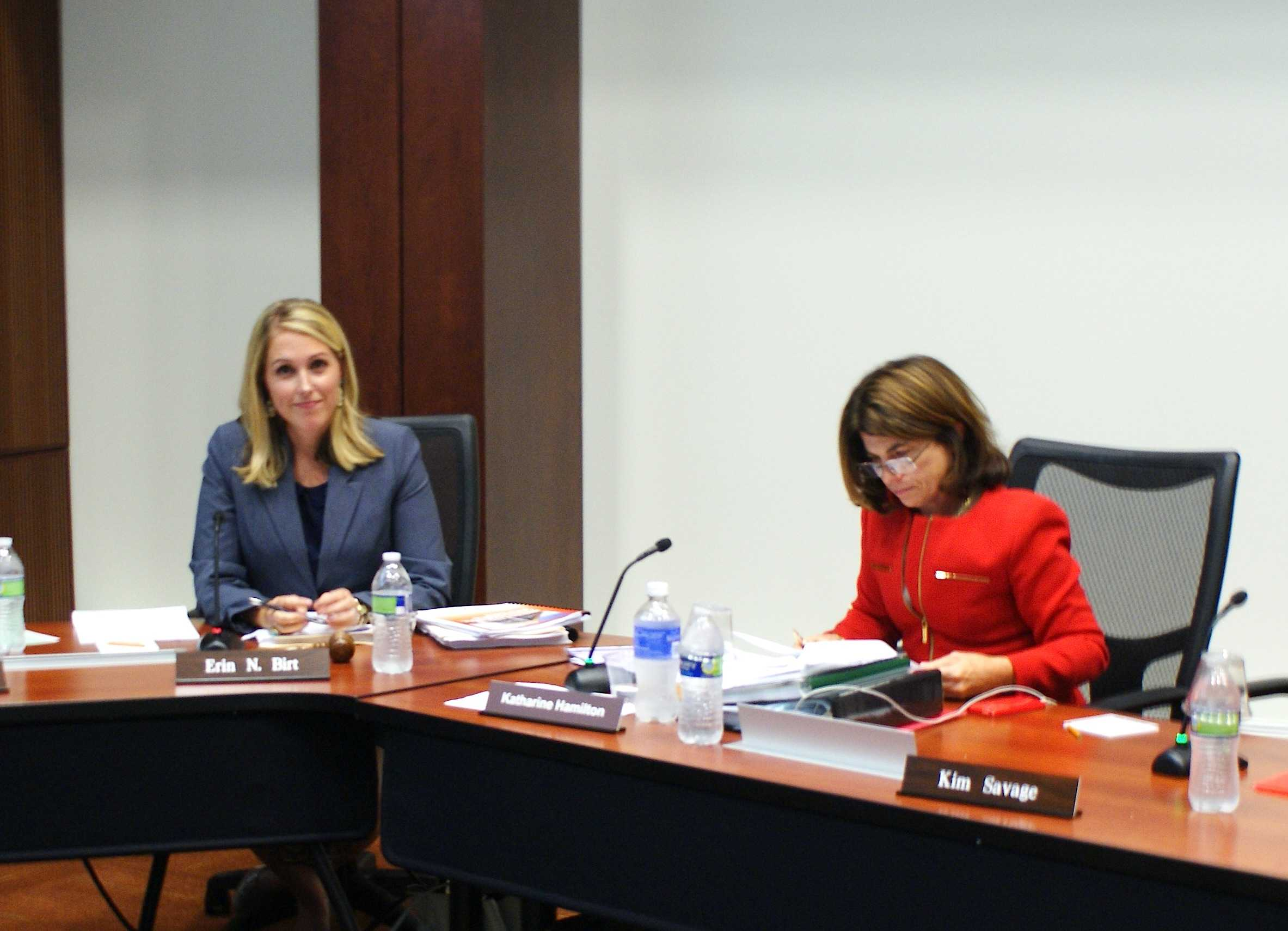 Board Chair Erin Birt, left, and Vice Chair Kathy Hamilton await the start of the College of DuPage board of trustees meeting on Aug. 21, 2014. Birt and the majority of the board voted to censure Hamilton.