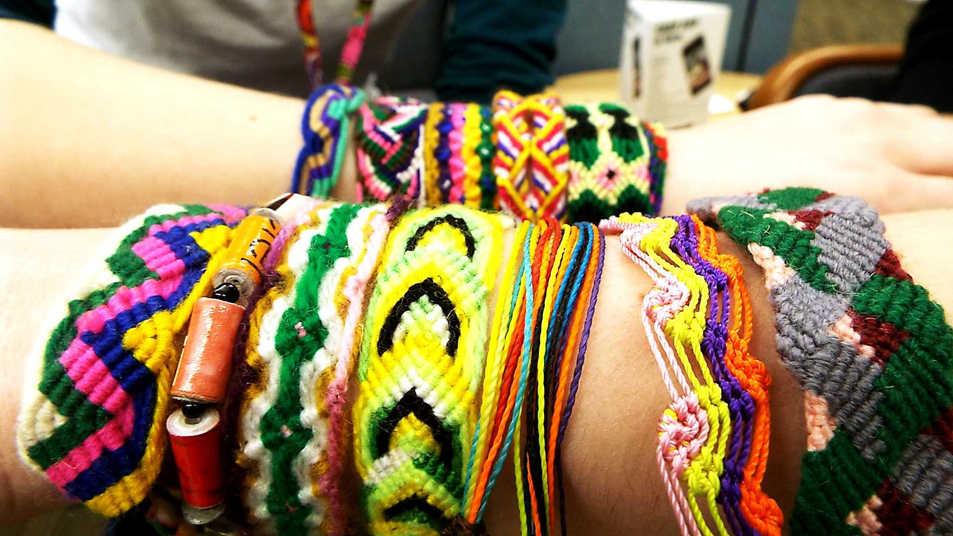 Pulsera bracelets that are being sold in the offices of Student Life at the College of DuPage on Feb. 23.