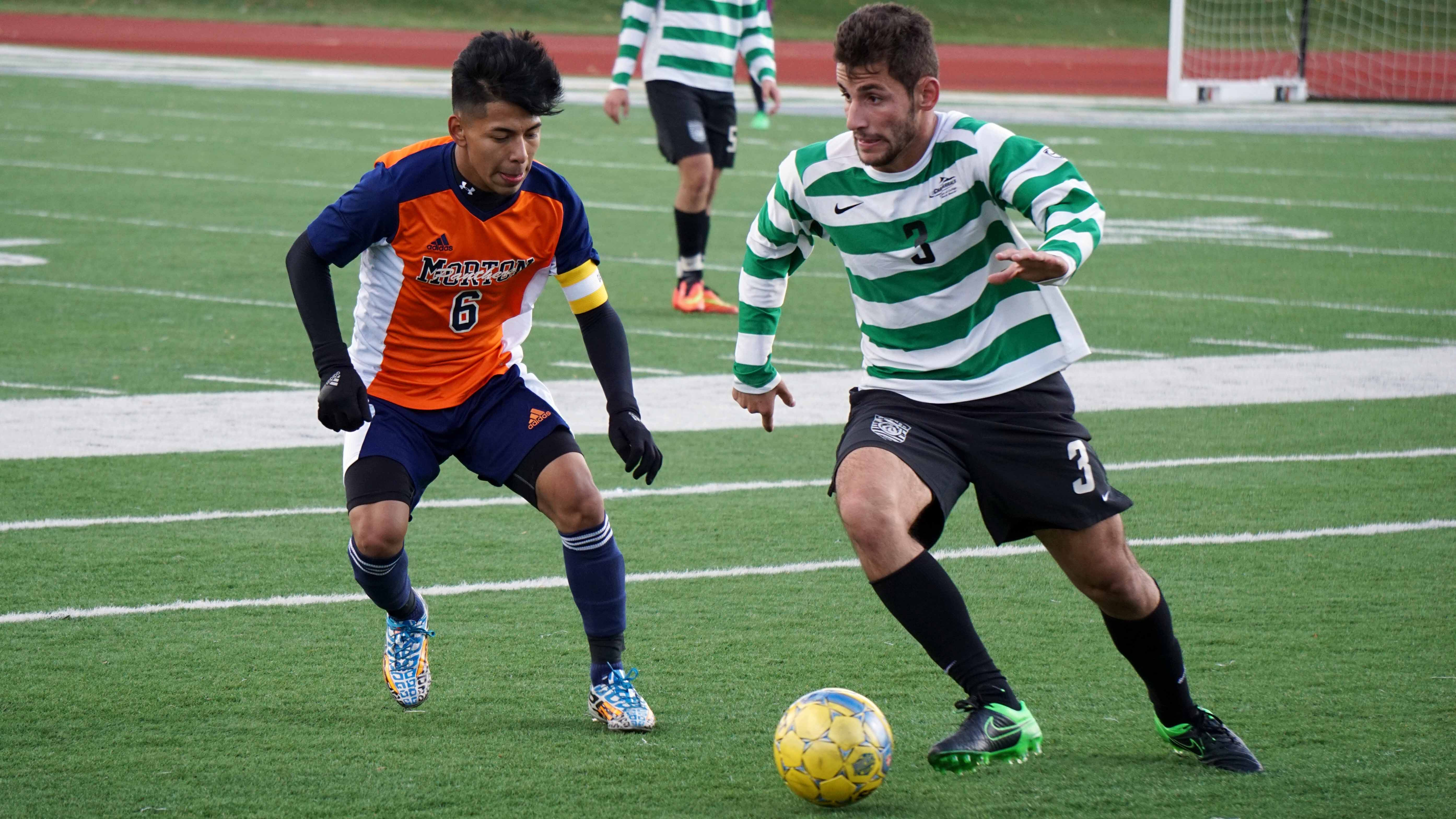 Chaparral player #3 Hajhar Agha jukes past a Morton Community College player at the Region IV Finals match against Morton at the College of DuPage on Nov. 7.