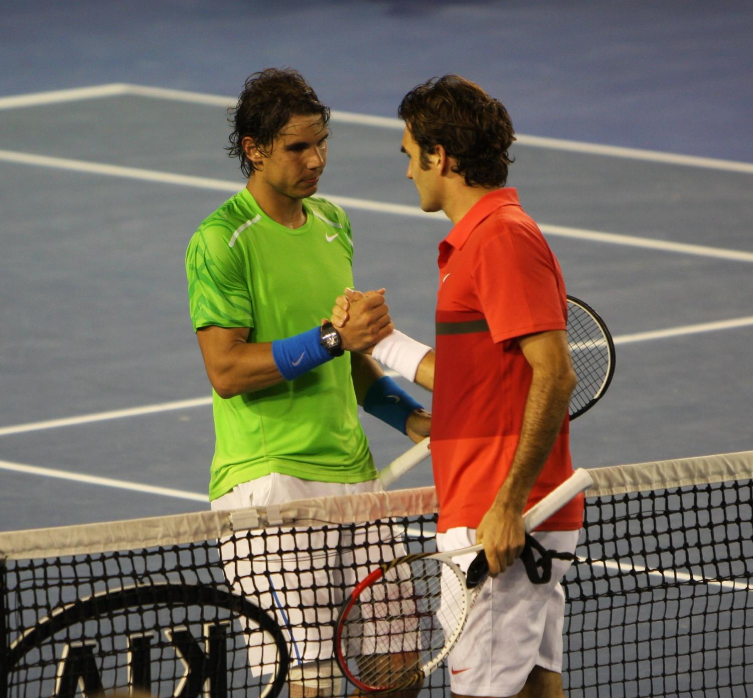 Roger Federer and Rafael Nadal at the Australian Open in 2012.