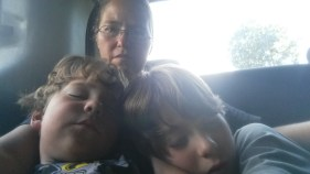 Sleeping a bit on the long car ride